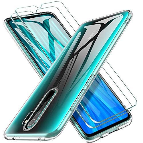 ILUXUS Redmi Note 8 Pro Panzerglas mit Hülle, [1 Handyhülle 2 Schutzfolie] Schutzhülle Ultra Dünn Folie Glas 9H TPU Silikon Hülle Cover Tasche Schale Transparent Crystal für Xiaomi Redmi Note 8 Pro