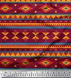 Soimoi Rot Poly Georgette Stoff geometrisch afrikanisch