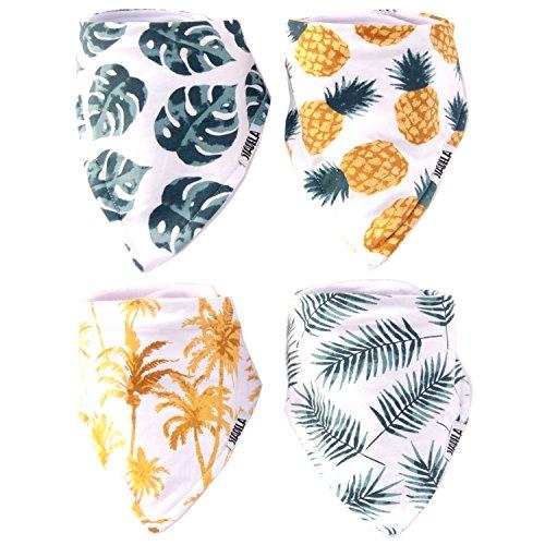 Stadela 100% Cotton Baby Bandana Drool Bibs for Drooling and Teething Nursery Burp Cloths 4 Pack...