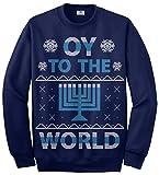 Threadrock Oy To The World Hanukkah Unisex Sweatshirt M Navy