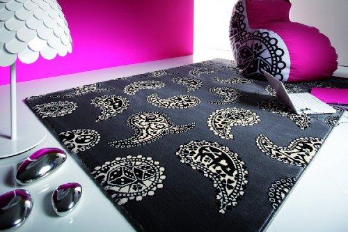 Lars Contzen Teppich Paisley 996 grau schwarz 80 x 150 cm Design Teppich