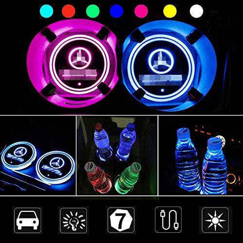 PRXD 2pcs LED Auto Cup Halter Matte Pad Wasserdicht Flasche Getränke Untersetzer für Universal Auto zur Autodekoration Stimmungslicht Innenraumbeleuchtung wasserdicht (Mercedes)