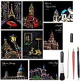 OOFAJ Scratch Art para Adultos, Tablero para Rascar con Vista Nocturna De Pintura De Arcoíris con 5 Herramientas, 21 X 29Cm Scratch Paper Rainbow Painting Sketch,Scratch Painting Creative Gift
