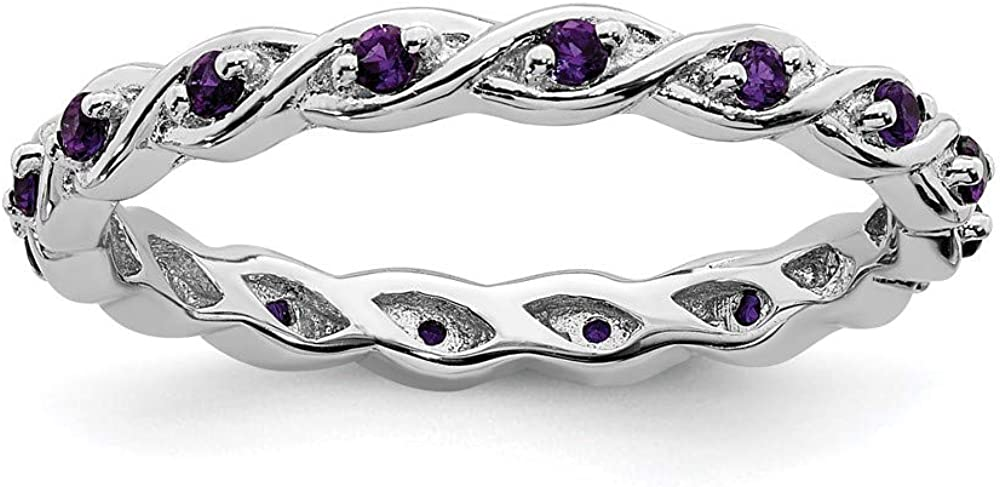 925 Ranking TOP10 Sterling Silver Purple Amethyst Ring Stackable Gemstone Max 63% OFF Band