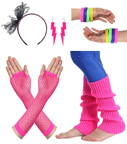 JustinCostume Women's 80s Outfit accessories Neon Earrings Leg Warmers Gloves (Q)