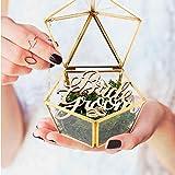 mylifemylove Caja de cristal para anillos de boda de novia y novio, soporte para anillos de boda de cristal rústico, soporte para anillos de boda