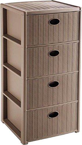 Stefanplast Cassettiera Elegance 4 cassetti, 80x39x37 cm, tortora