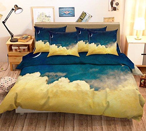 Just Contempo Parure de lit avec housse de couette et taies d'oreiller 3D Motif nuages jaunes