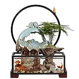 TMY Interior Fuente de Escritorio, Agua de circulación Fuente de Mesa Decorativa, Sala de Estar Oficina Rocera de Pescado Adornos del Tanque (Color : Blue)