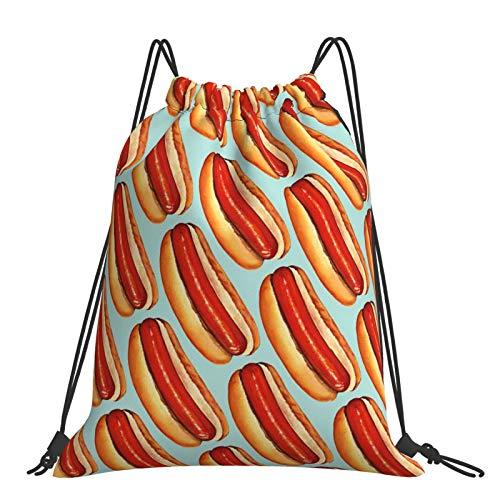 Rucksack mit Kordelzug, Hot Dog-Malerei, Aufbewahrungstasche, Unisex, Sport, Fitnessstudio, Outdoor, tragbare Taschen für Wandern, Yoga, Schwimmen, Reisen