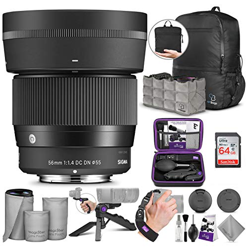 Sigma 56mm f/1.4 DC DN Contemporary Lens for Sony E with Altura Photo Advanced Accessory and Travel Bundle
