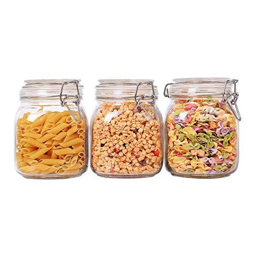 ComSaf 1000ML Botes de Cristal con Tapa - Conjunto de 3, Tarrors de Cristal Sellado Recipiente Hermético Transparente Envase para Pasta, Conservas, Especias, Azúcares, Café, Alimentos