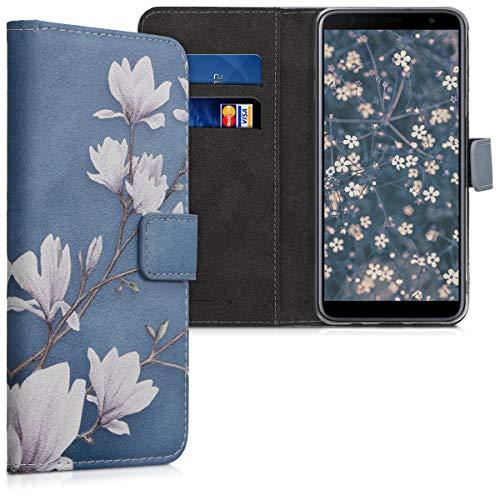 kwmobile Hülle kompatibel mit Samsung Galaxy J4+ / J4 Plus DUOS - Kunstleder Wallet Hülle mit Kartenfächern Stand Magnolien Taupe Weiß Blaugrau