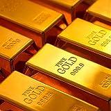 Dotters Goldbarren Türstopper, 1kg glänzend Fake Gold Bar Gold Türstopper Türkeil Gold Papier...