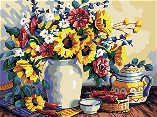 DIY Canvas Olie Schilderen Bloem theepot Schilderen door Numbers Kit voor Kinderen Volwassenen Acryl Tekenen Schilderij met Penselen Foto's Kunst Woonkamer Decoratie (16x20inch)