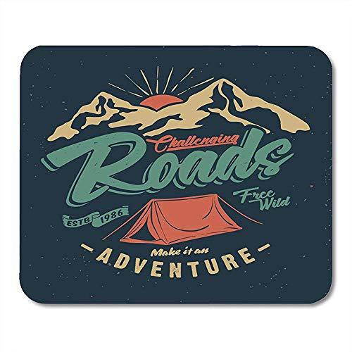 Mouse Pads Badge Camp College Camping Tent Tee En Outdoor Avontuur Emblemen Berg Ontdek muismat Voor Notebooks Muismatten
