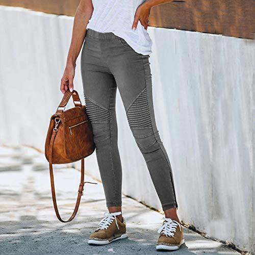 Womens Casual Loose Pants Comfy Work Pants Pockets Elastic High Waist Pants Solid Color Pocket Slim-Fitting Stretch Pants