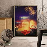 XWArtpic Nuevo Drama de Ciencia ficción Vintage Poster TV pictórico Stranger Things Dormitorio Decoración para el hogar Guardería Niños Habitación Lienzo Pintura 60 * 80cm V