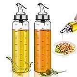 Bottiglia dispenser per olio d'oliva 2 Pezzi Olio e Aceto Dispenser Vetro Oliera Contenitore di Oliva Dispenser Bottiglia per Condimento Pasta Insalata Barbecue