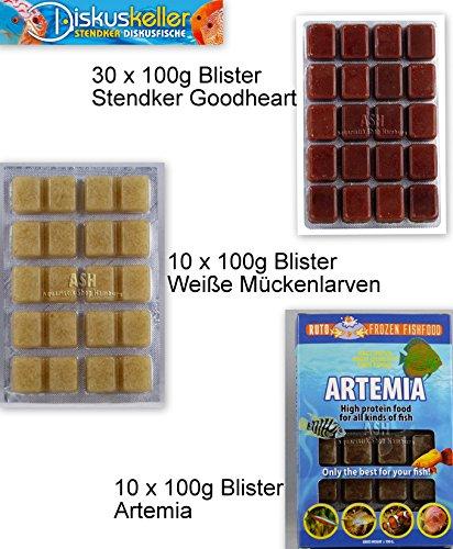 Fimö Frostfutter Blister Paket 30x Stendker GoodHeart Rinderherz + 10x Weiße Mückenlarven + 10x Artemia