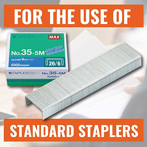 "Max 35-5M Standard Staples for USA; Leg Length 6mm (1/4""); 100 Staples per Stick, for Use with Max HD-50, HD-50R, HD-50F and other Standard Staplers, 0.25"" Leg Length, 0.5"" Crown Width, 5000 Count Photo #2"