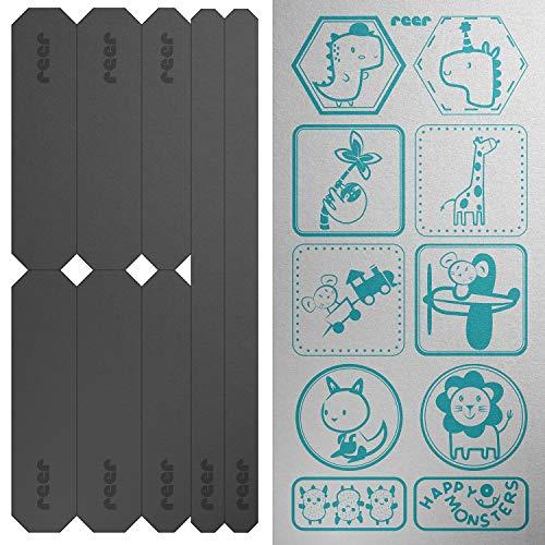 reer 53141 LightReflex Reflektor-Sticker-Set, 18 Stück, verschiedene Größen, Reflektoren-Aufkleber für Kinderwagen, Fahrrad, Jacke und Co., selbstklebend, silber, 39 g