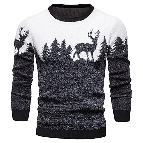 Suéter Para Hombre Jersey Con Cuello En O - Invierno Árbol De Navidad Con Estampado De Ciervos Jerséis De...