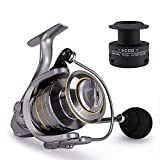 Byrhgood Spinning Pesca Reel Carrete Metal + Spool Extra 1000-7000 Carretes de Pesca de Agua de mar Treal de Repuesto al alimentador Largos (Spool Capacity : 2000 Series)