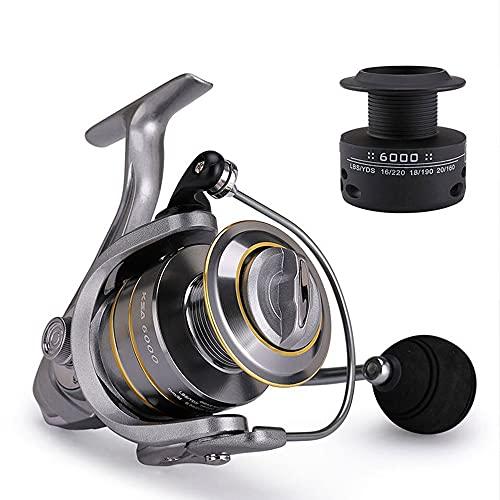 Spinning Pesca Carrete de Bobina de Metal Extra + Carrete 1000-7000 El Agua de mar la Pesca del Carrete de Repuesto Carrete alimentador Largo arroja (Spool Capacity : 6000 Series)