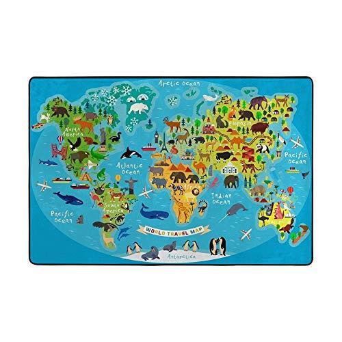 Redecor Tapis de jeu éducatif doux pour chambre à coucher Motif carte du monde 150 x 100 cm