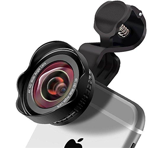 Lens voor mobiele telefoon met clip-on 180° lens & 0,45X HD 120° groothoek & 20X macro objectief, HD mobiele telefoon objectief, set cameralens voor Samsung, Huawei, HTC en de meeste smartphones, zwart