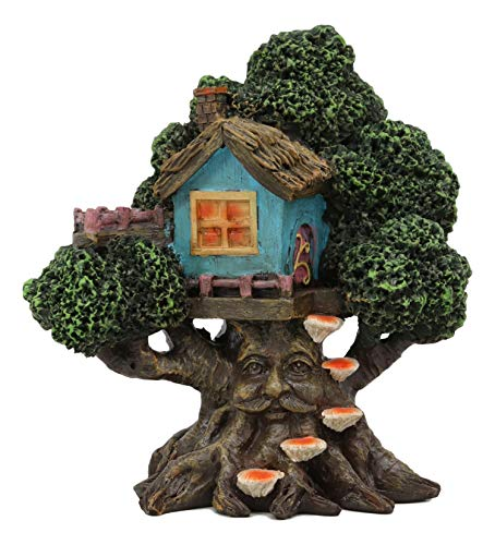 Ebros Whimsical Forest Ent Greenman Cottage Blue Nook Tree House Statue with Mushroom Conk Steps 6.5' High As Fairy Garden Treehouse Accessory Decor for Home Collectible Figurine