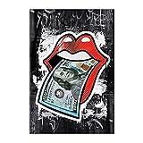 CBYLDDD Moderno Sexy Labios Red U.S Dollar Money Lienzo Pintura Póster y...