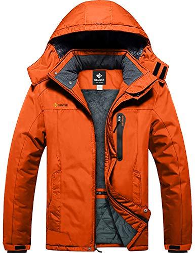 GEMYSE wasserdichte Skijacke für Herren Winddichte Fleece Outdoor-Winterjacke mit Kapuze (Orange,XL)