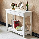 TaoHFE Console Table for Entryway Table, Hallway Foyer Table with Drawer and Shelf for Livingroom,White