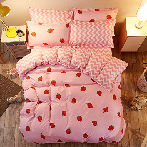 LAMEJOR Duvet Cover Set Queen Size Red Strawberry...