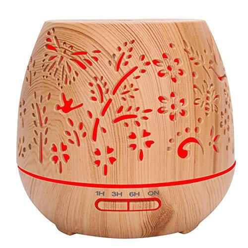 01 Humidificador de aceites esenciales, difusor de aromas eléctrico de grano de madera de gran capacidad de 400 ml para (European regulations)