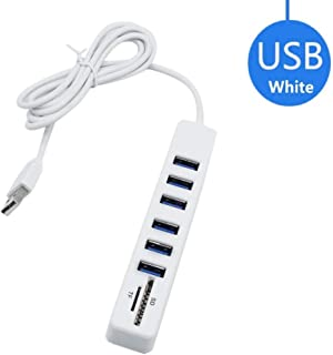 Cotchear Multi USB Hub USB 2.0 Splitter High Speed 6 Ports Hab TF SD Card Reader All in One for PC Computer Accessories (White)