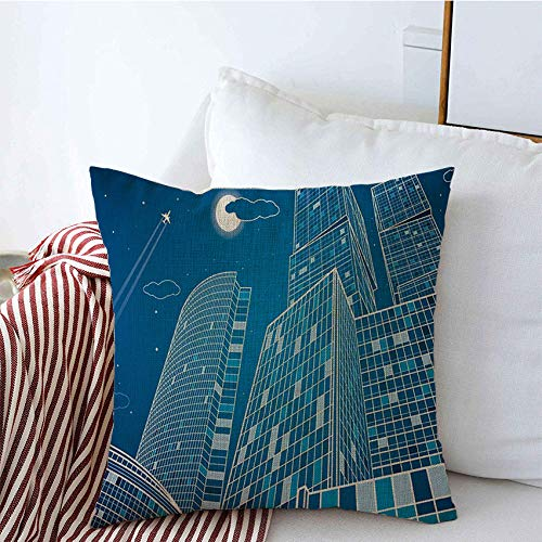 Staroden Throw Pillow Covers Lined Architecture Business Neon Contour Best Energy Technology City Infrastructure Industrial Landmarks Linen Square Pillow Cushion Case for Couch Sofa 16x16 Inch