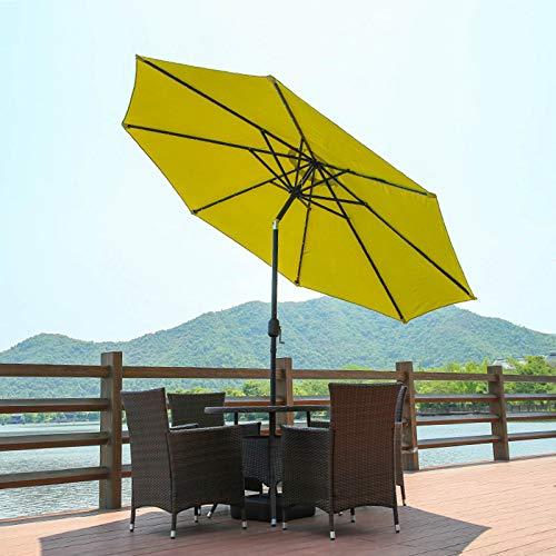 CMJM Parasol Jardin Terraza 3m con Luces LED De Energía Solar Sombrilla Parasol Manivela Y Función De Inclinación, para Piscina/Balcón/Patio