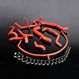 Radiator Coolant & Heater Silicone Hose Kit For VW GOLF GTI MK3 VR6 2.8 V6 1994 1995 1996 1997 1998 (Red -With Clamp Set)