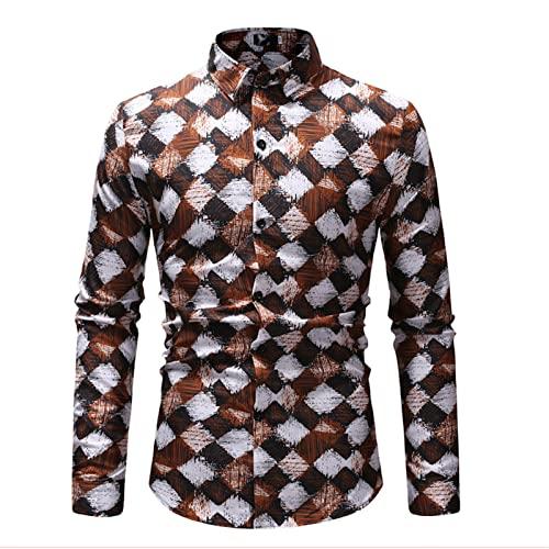 Ocuhiger Camisa De Vestir Clásica De Moda para Hombres Camisa De Negocios Informal De Corte Estándar Regular Slim Tops De Manga Larga con Botones Blusa Estampado Floral Marrón