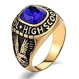 Aundiz Hombres Acero Inoxidable Anillo Azul Rectángulo Águila Zirconia Cúbica Anillos de Promesa Azul Anillo Tamaño 15