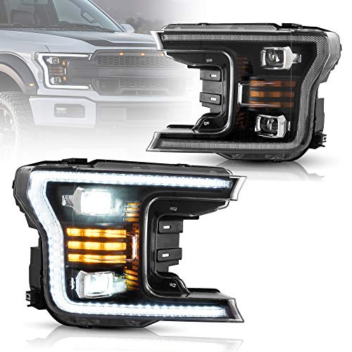 VLAND Full LED Upgraded Headlights for [Ford F150 13th Gen Pickup 2018 2019 2020 (NOT for Raptor) ] with DRLs Head Lamp Assembly YAA-F150-2042A, Black