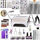 DARK DIAMOND - Set manicura y pedicura profesional, maquina de uñas muntifuncional led UV 5 en 1, flexo, drill y aspiración de residuos. Incluye decoraciones, limas, herramientas y utensilios.