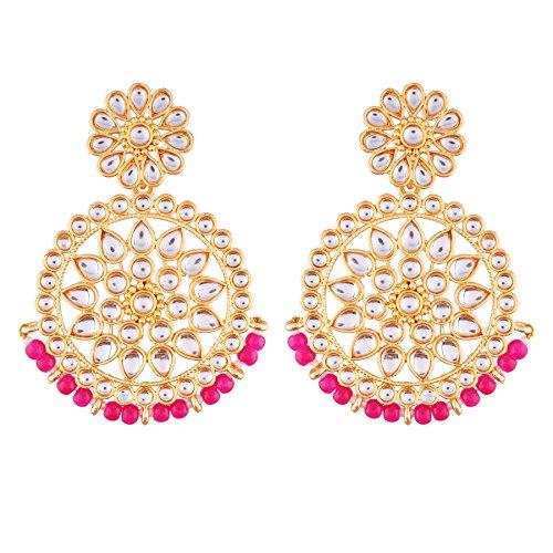 Aheli Bollywood - Pendientes para mujer y niña, chapados en oro, diseño tradicional con cuentas de color Kundan y rosa