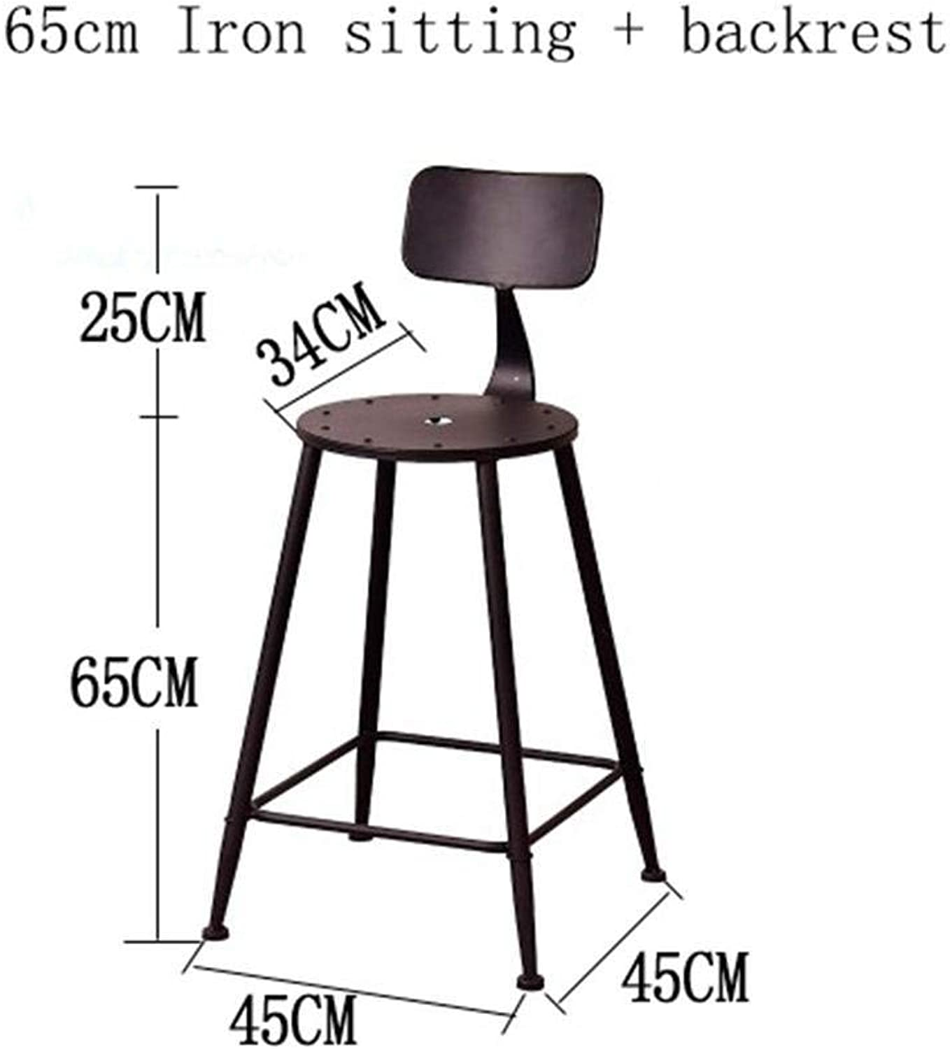 High Bar Stool Coffee Chair Retro Kitchen Stools With Metal