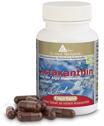 Astaxanthin nach Dr. med. Michalzik, 100% pflanzlich ohne Zusatzstoffe, 400 mg Algen-Extrakt aus Haematococcus pluvialis, 4 mg reines Astaxanthin (mit HPLC-Analyse gemessen) je Kapsel - ohne Zusatzstoffe, 120 vegane Kapseln