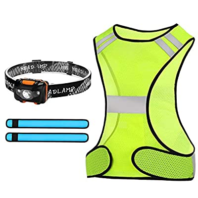 Odoland Reflective Vest Running Gear Set with Reflective LED Armbands and Headlamp, Safety Gear and Reflector Strips for Night Running Walking Biking Cycling, Men and Women