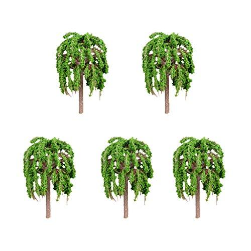 5 Stück Blumentopf Pflanzentopf Mini Baum Dekofigur Fee Garten Dekoration Muster Set - Trauerweide L, 66x40mm